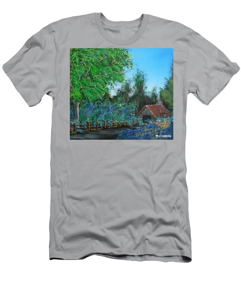 Landscape Men's T-Shirt (Athletic Fit) featuring the painting Old Barn by Ken Farnsworth