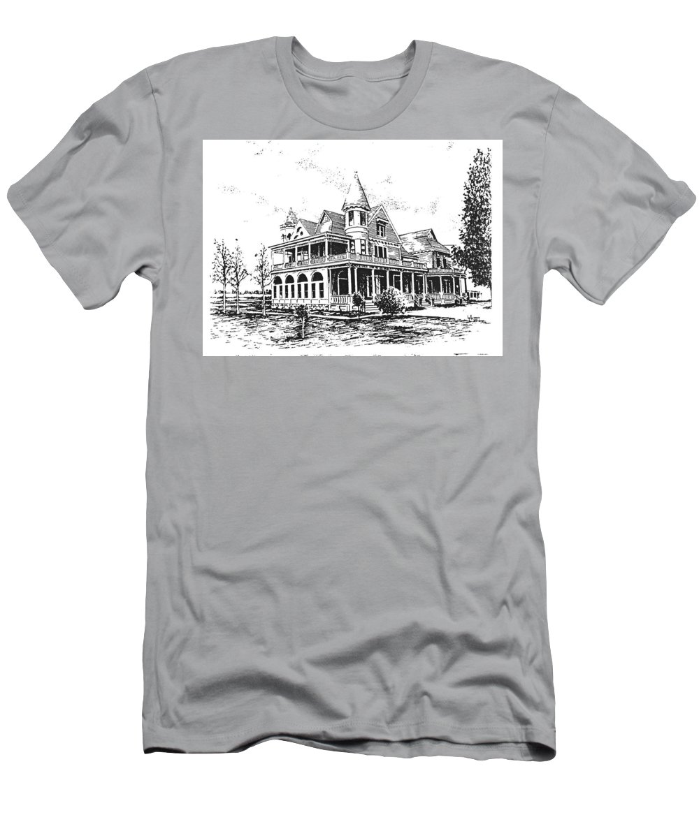 Old Daly Mansion T-Shirt featuring the drawing Old Daly Mansion Hamilton Montana by Kevin Heaney