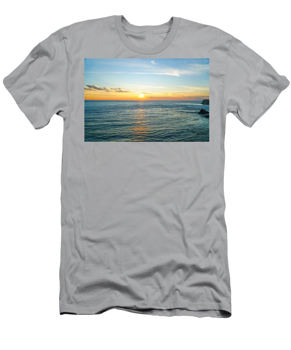 Sunset Ocean Water Sky Color Men's T-Shirt (Athletic Fit) featuring the photograph Pacific Ocean Sunset by Hilario Ruiz