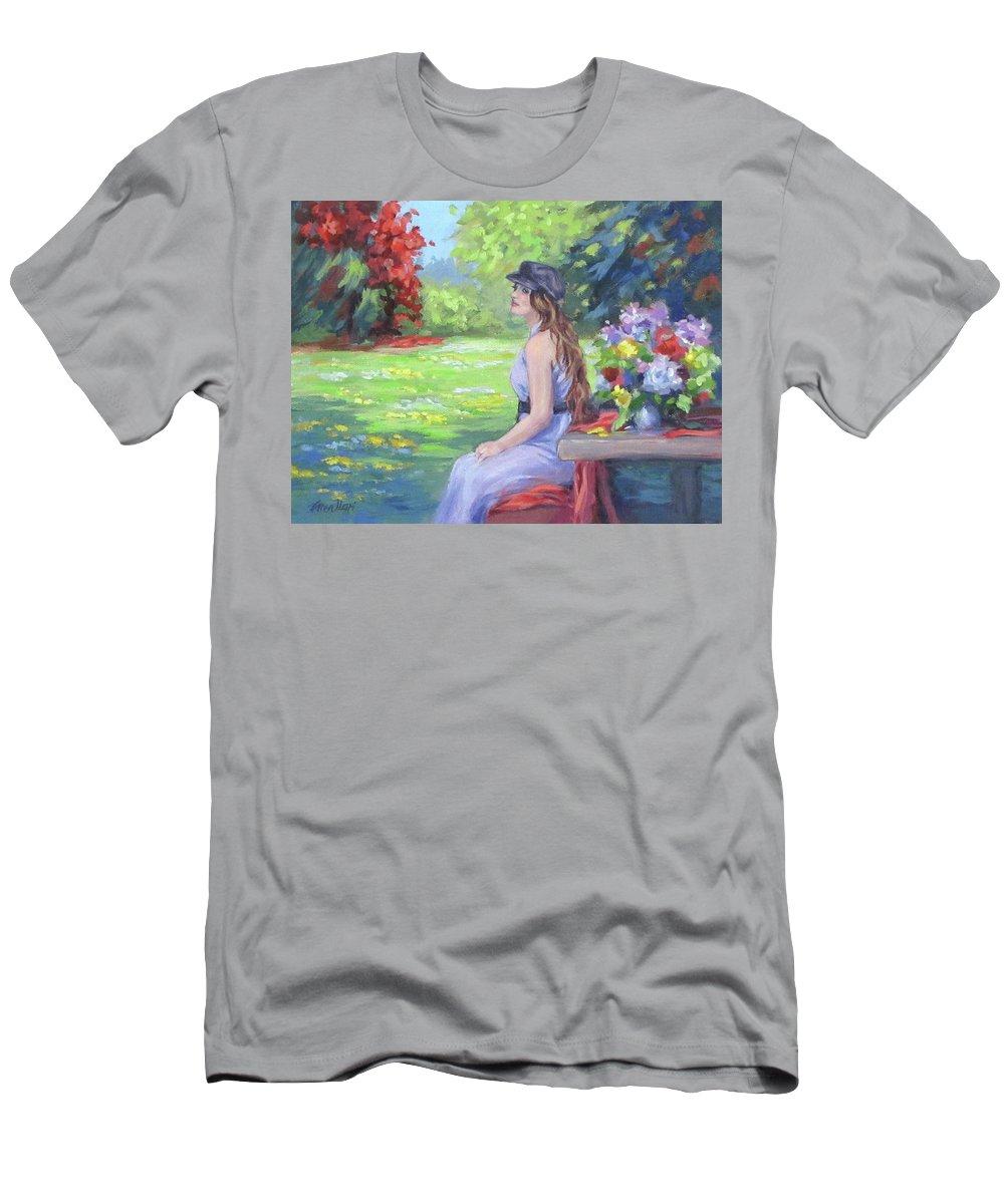 Park T-Shirt featuring the painting Park Repose by Karen Ilari