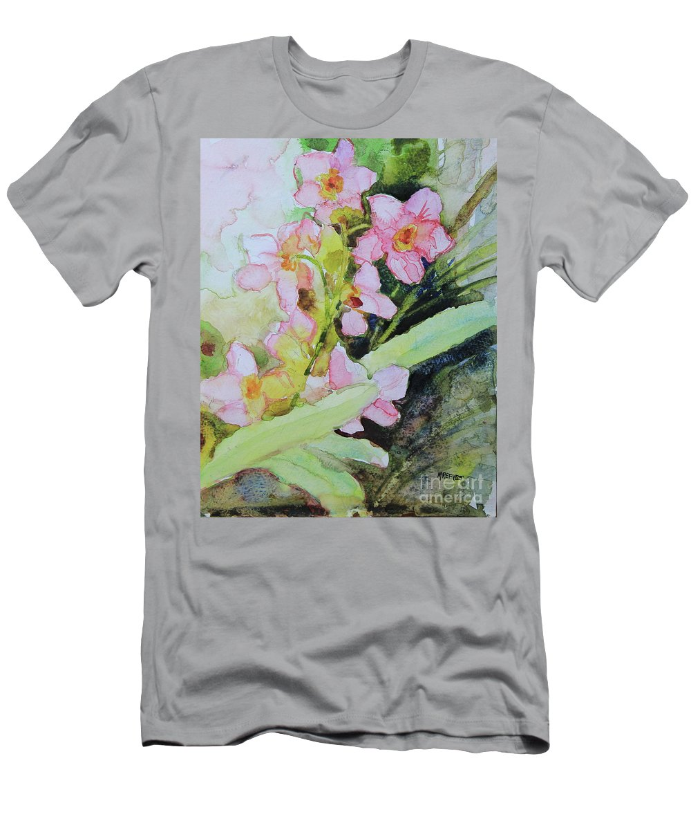Orchid Men's T-Shirt (Athletic Fit) featuring the painting Pink Moth Orchids II by Marsha Reeves