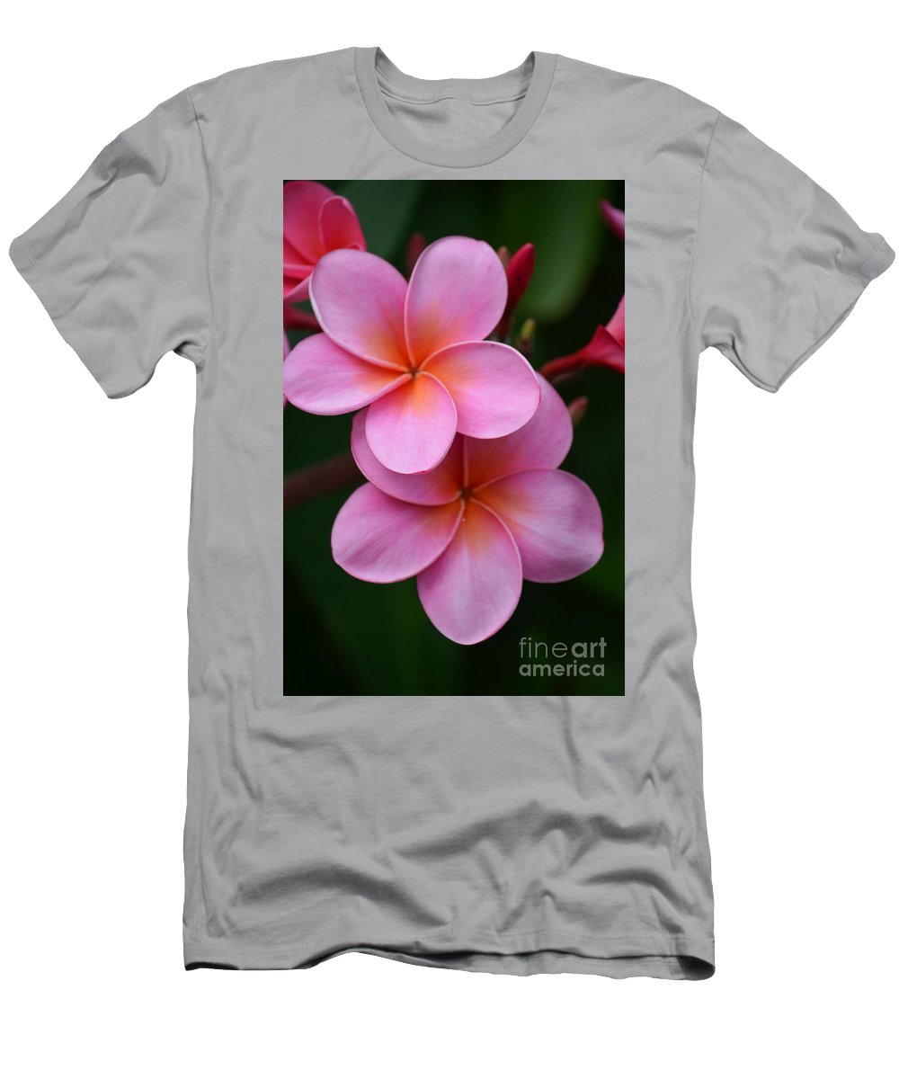 Deb Cawley Men's T-Shirt (Athletic Fit) featuring the photograph Pink Plumerias by Deb Cawley