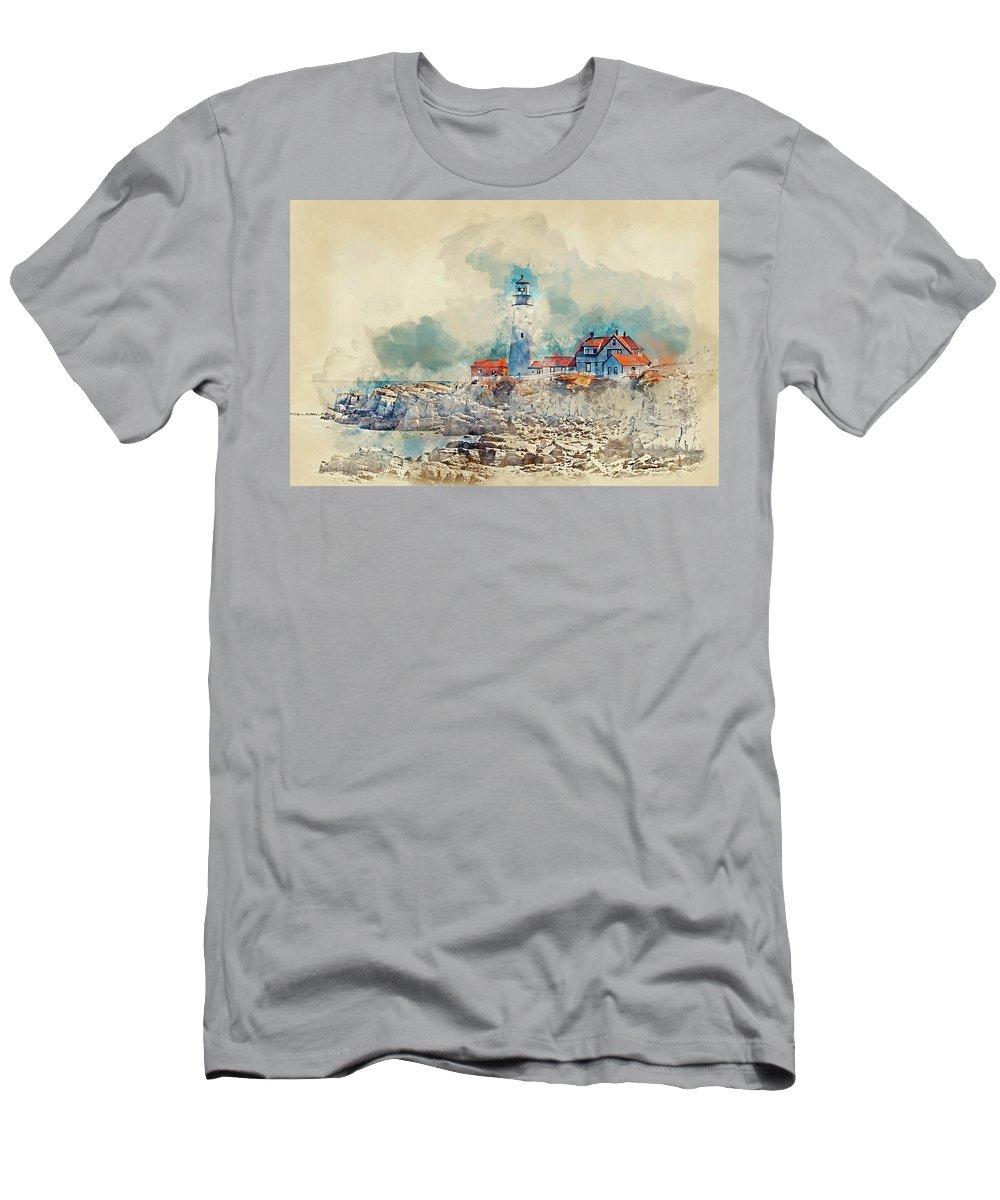 Lighthouse T-Shirt featuring the digital art Portland Head Lighthouse Portland Maine by Trevor Slauenwhite