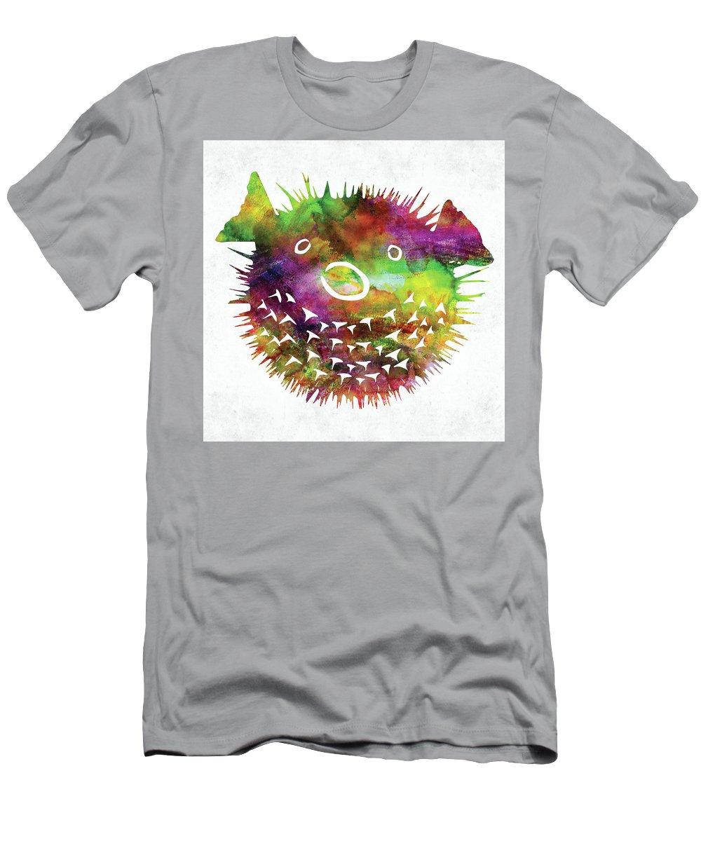 Fish T-Shirt featuring the digital art Puffer Fish Face Watercolor by Mihaela Pater
