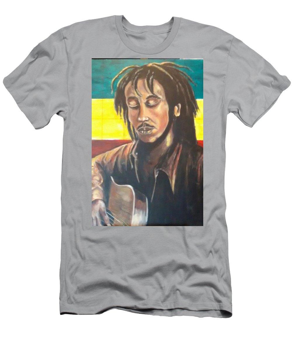 Rasta Art T-Shirt featuring the painting Rasta Music by Andrew Johnson
