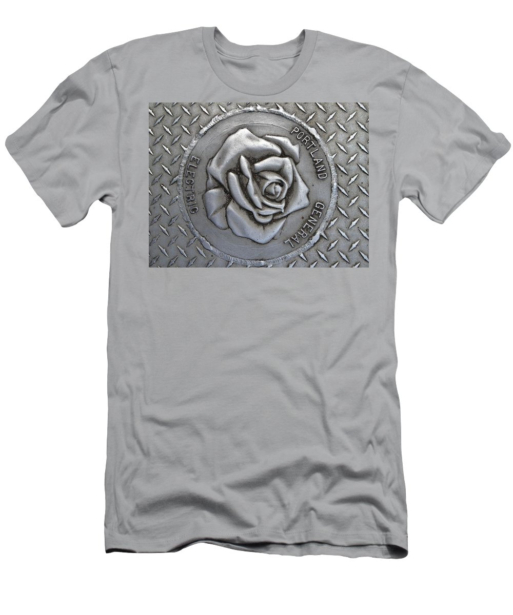 Rose Men's T-Shirt (Athletic Fit) featuring the photograph Rose Sidewalk Grate by Norman Burnham