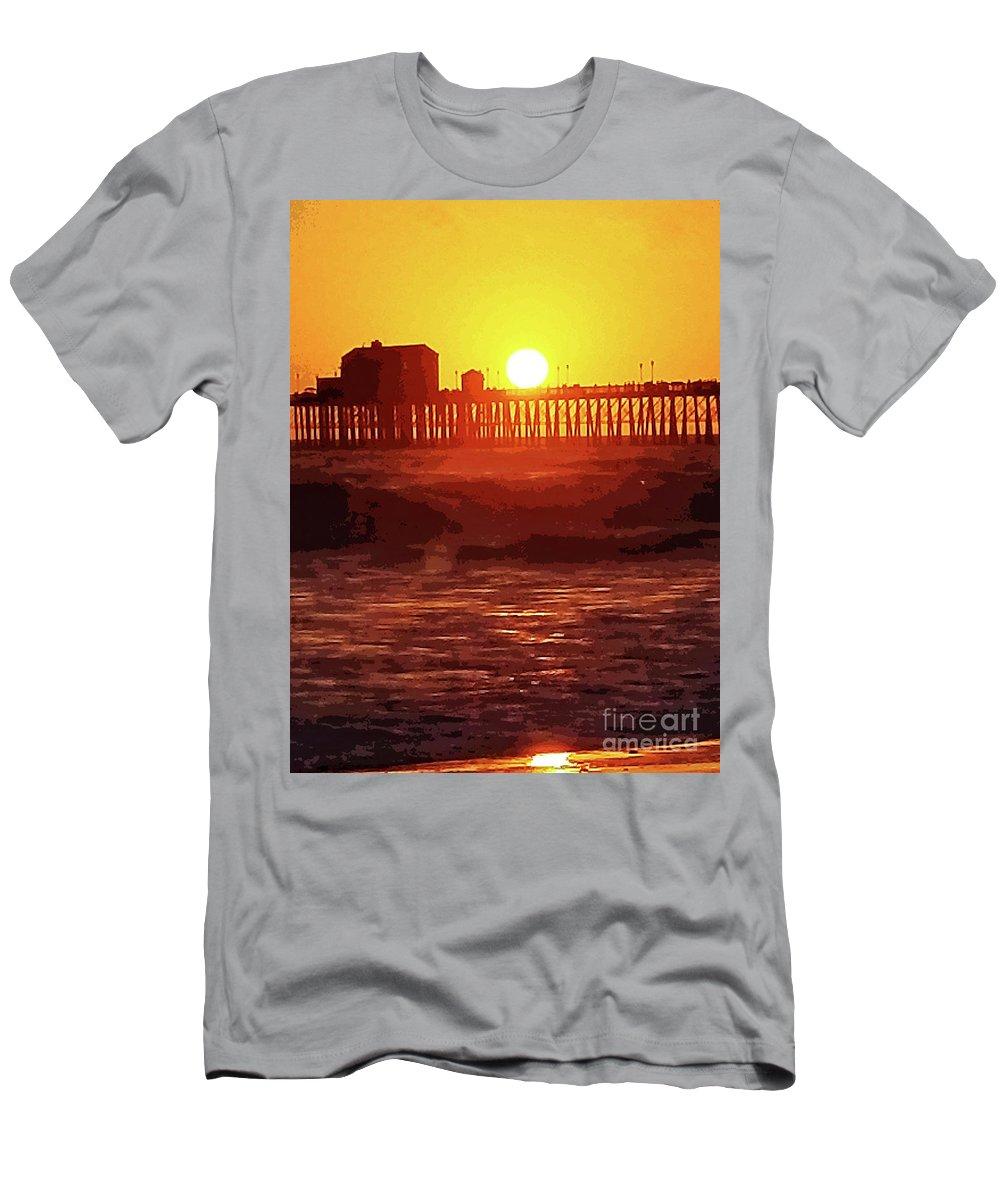 Ruby Oceanside California Oceanside Pier Ocean Pacific Ocean Seaside Ocean Pier Pier Sunset Ocean Sunset Orange Red Blazing Sunset Men's T-Shirt (Athletic Fit) featuring the mixed media Ruby Sunset Oceanside Pier by Tammera Malicki-Wong