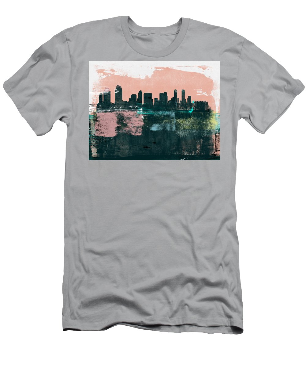 San Diego T-Shirt featuring the mixed media San Diego Abstract Skyline I by Naxart Studio