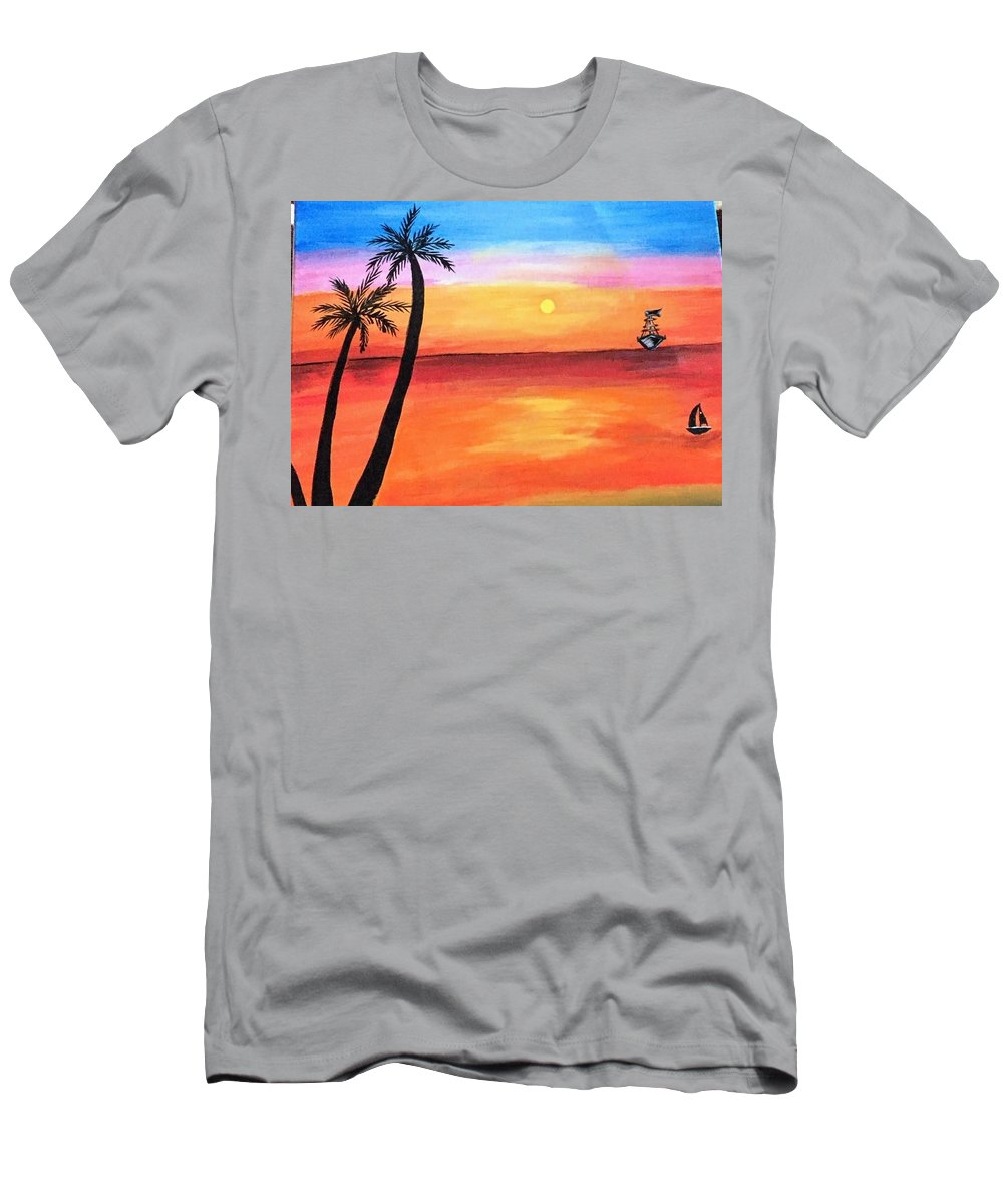 Canvas T-Shirt featuring the painting Scenary by Aswini Moraikat Surendran