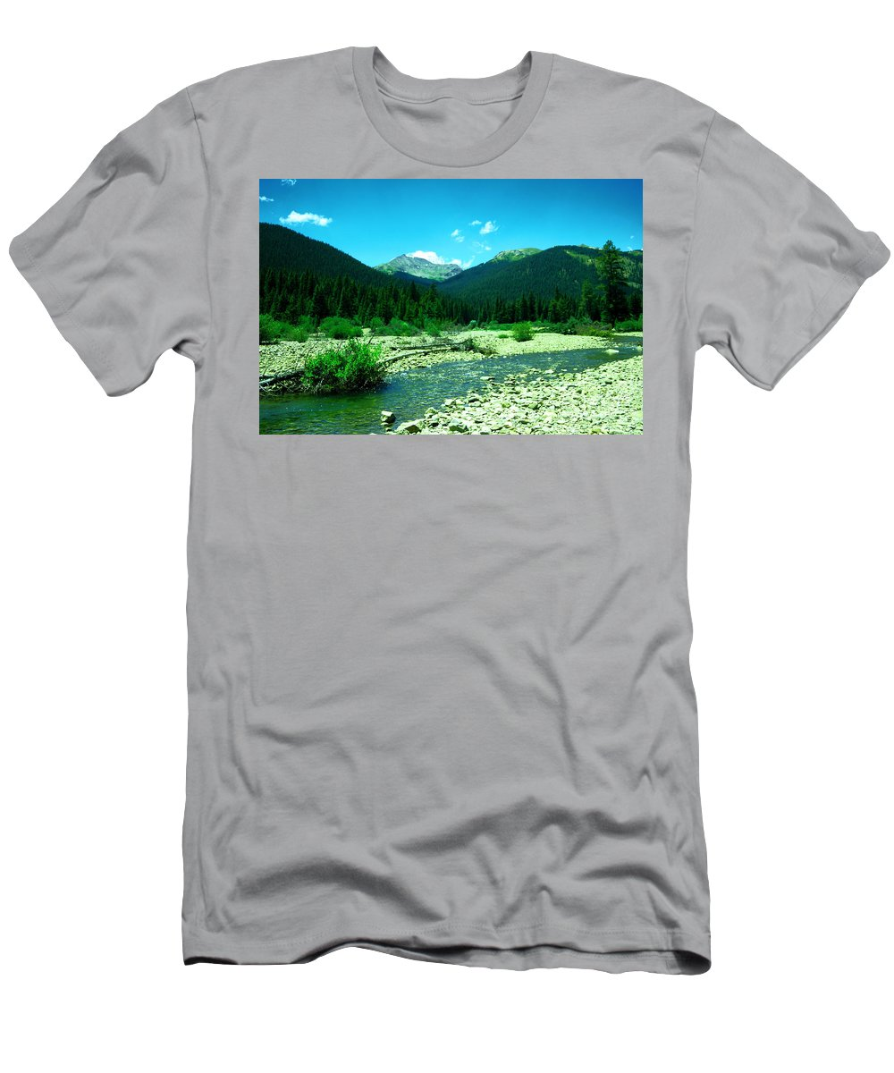 Mountains Men's T-Shirt (Athletic Fit) featuring the photograph Small Stream Foreground The Rockies by Jeff Swan