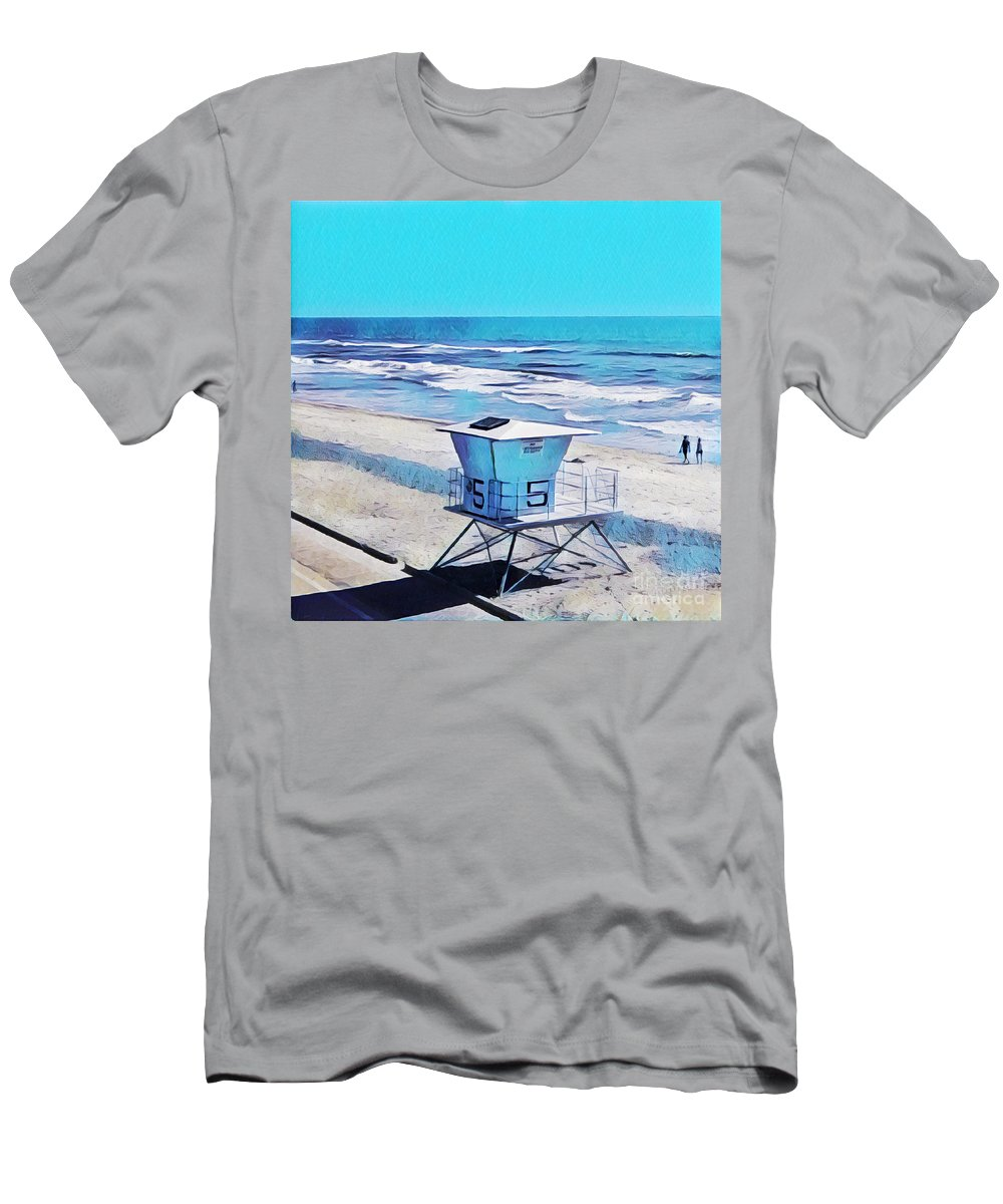 Lifeguard Ocean Califo9rnia Beach Summer Sea Blue Sand Sandy Beige California Southern California Men's T-Shirt (Athletic Fit) featuring the photograph Station 5 Oceanside California 2 by Tammera Malicki-Wong