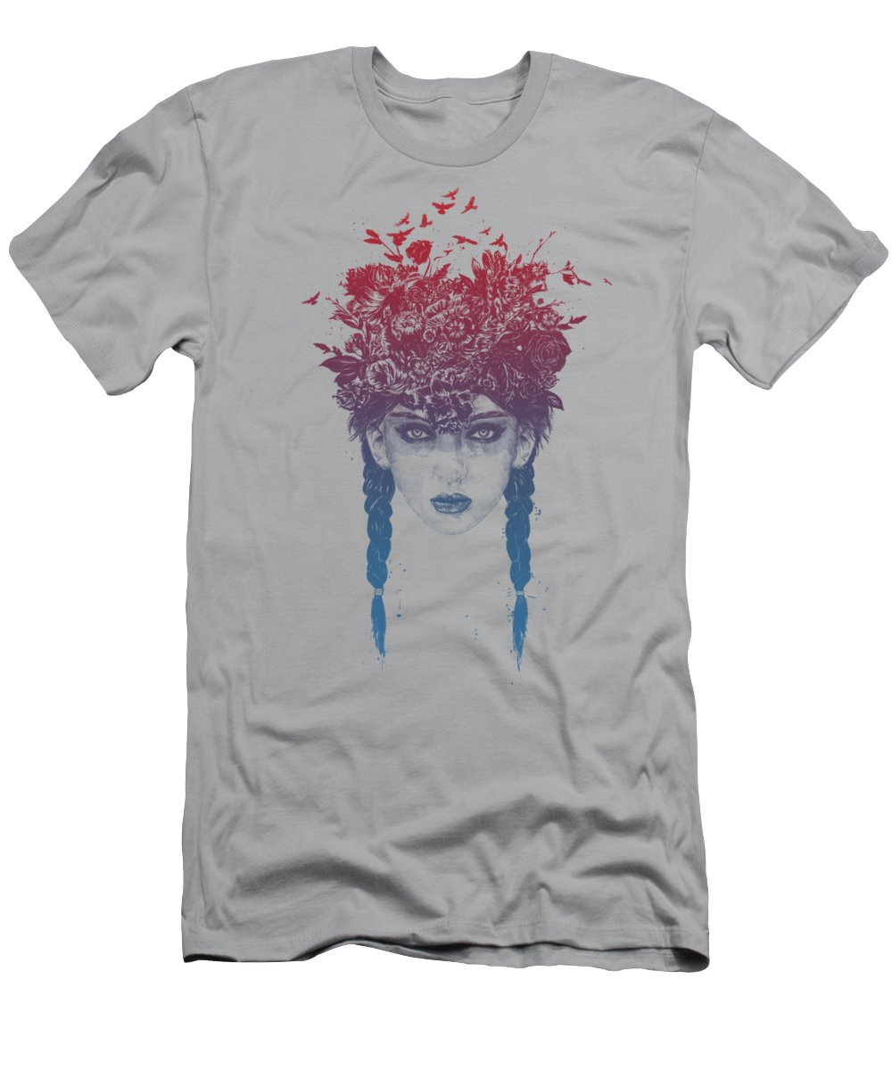 Girl T-Shirt featuring the mixed media Summer Queen by Balazs Solti