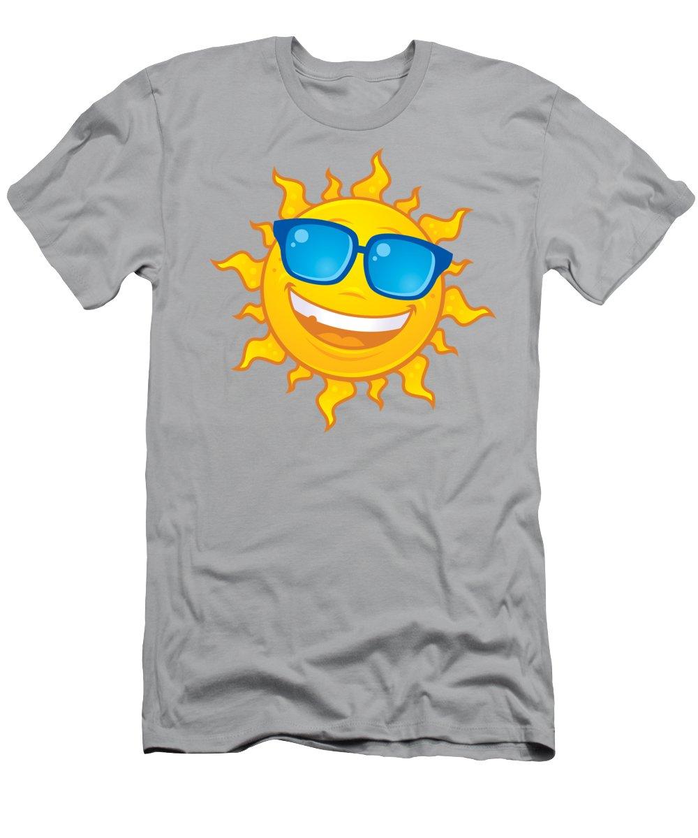 Weather T-Shirt featuring the digital art Summer Sun Wearing Sunglasses by John Schwegel