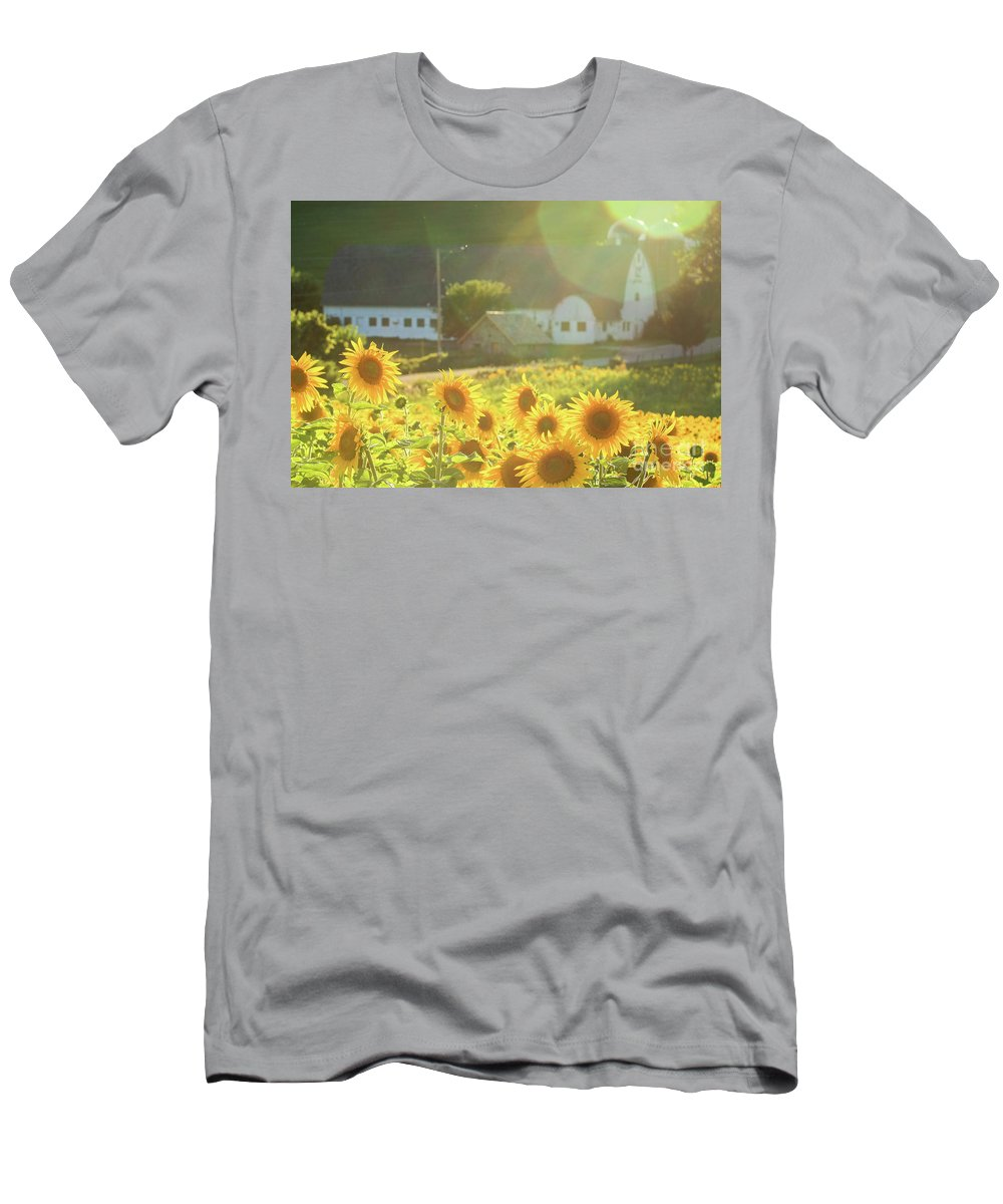 Sunflower Men's T-Shirt (Athletic Fit) featuring the photograph Sunflower Haze by Martina Schneeberg-Chrisien