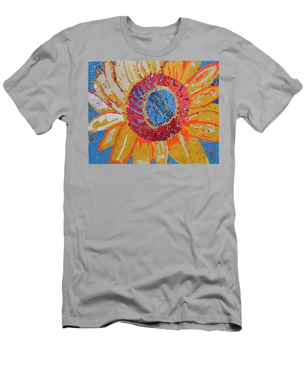 Collage Men's T-Shirt (Athletic Fit) featuring the mixed media Sunflower by ILona Halderman