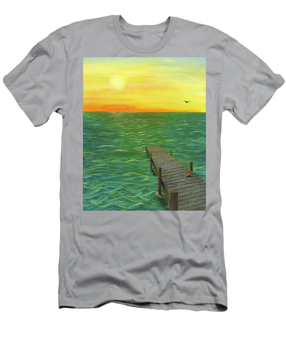 Sunrise Sunset Water Ocean Lake Pond Dock Flip Flops Landscape Nature Sun Waves Serine Peaceful Men's T-Shirt (Athletic Fit) featuring the painting Sunrise At The Dock by Renee Ober