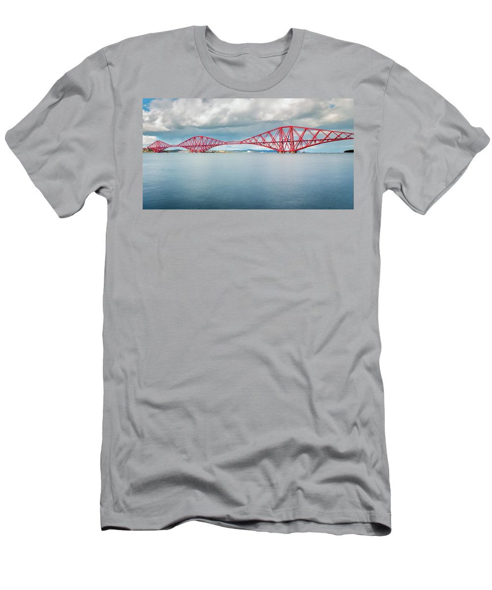 Europe Men's T-Shirt (Athletic Fit) featuring the photograph Train Bridge - Forth Of Fifth by Fabio Gomes Freitas