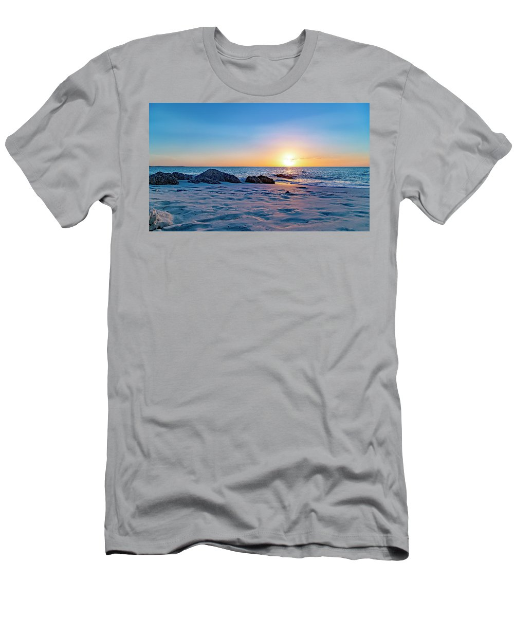 Beach Men's T-Shirt (Athletic Fit) featuring the photograph Turks And Caicos Tranquil Sunset by Betsy Knapp