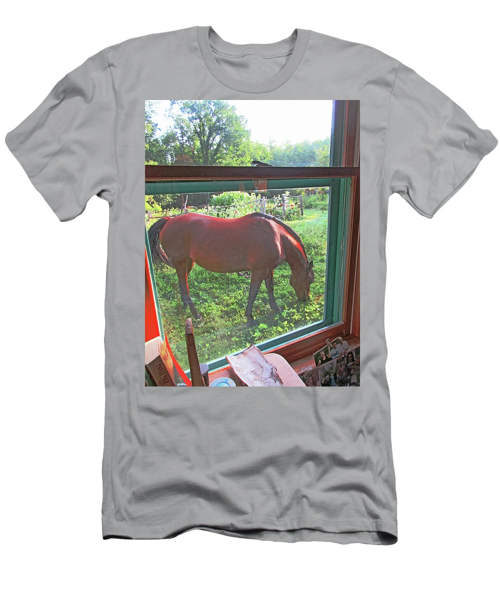 Horse Men's T-Shirt (Athletic Fit) featuring the mixed media View From The Farm House Window by Patricia Keller