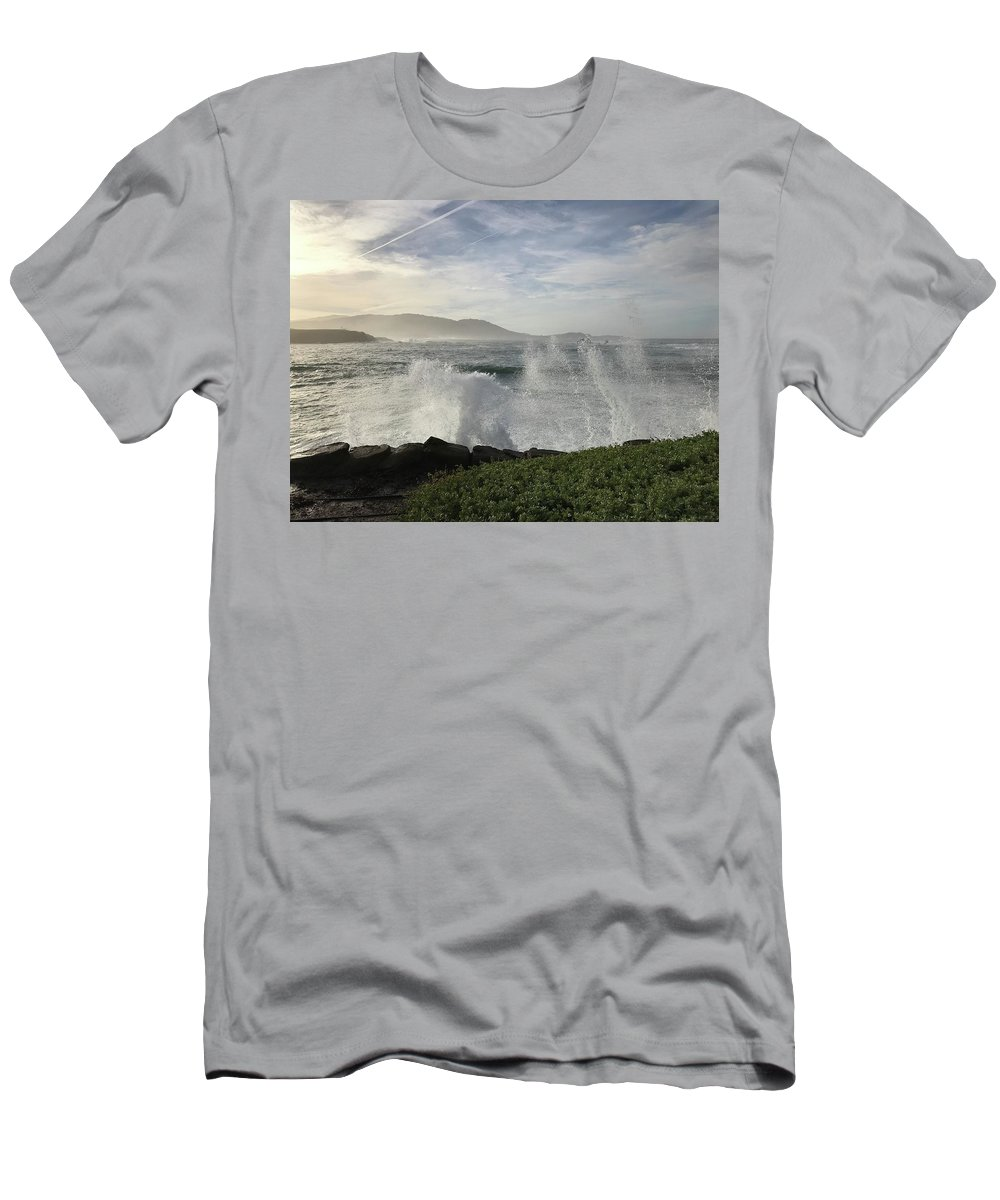 Pacific Ocean Waves White-water Spray Pebble Beach California Wind Sky Clouds Nature Hills Sea Landscape Vistas T-Shirt featuring the photograph Waves And Spray by Terry Huntingdon Tydings
