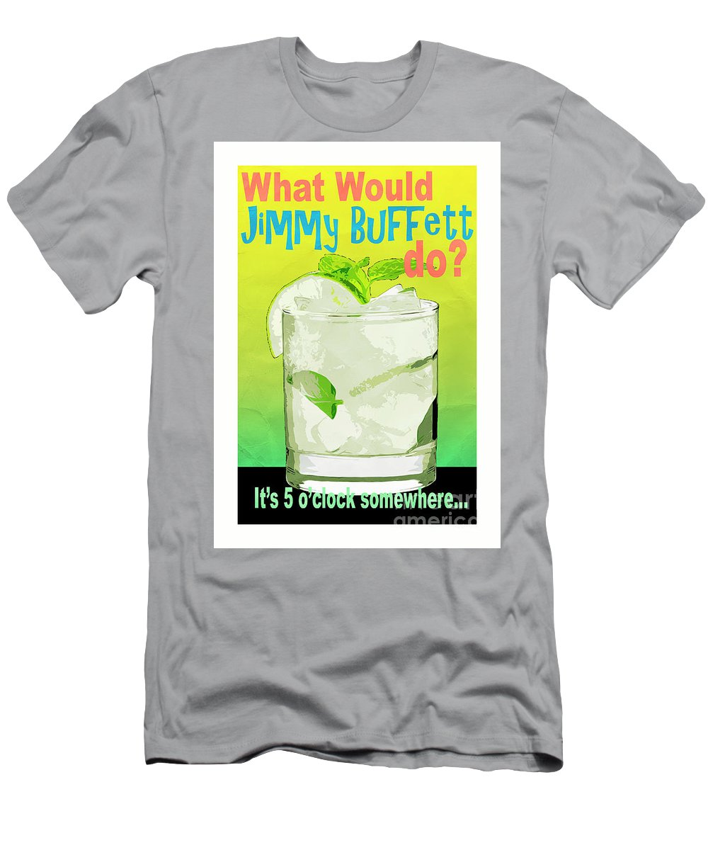 Tropical Men's T-Shirt (Athletic Fit) featuring the digital art What Would Jimmy Buffett Do White Background by Edward Fielding