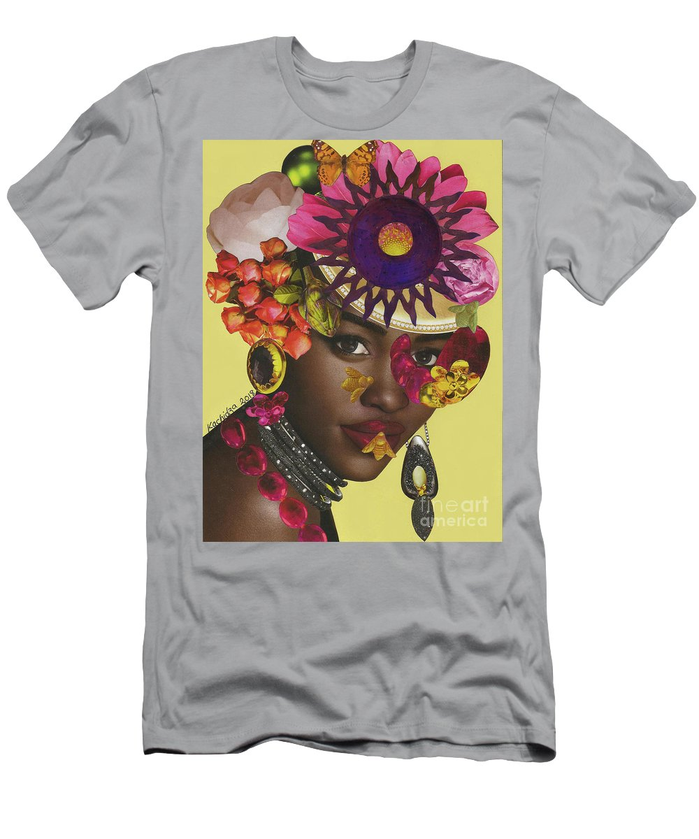 Woman Men's T-Shirt (Athletic Fit) featuring the mixed media When African Eyes Are Smiling by Mucha Kachidza