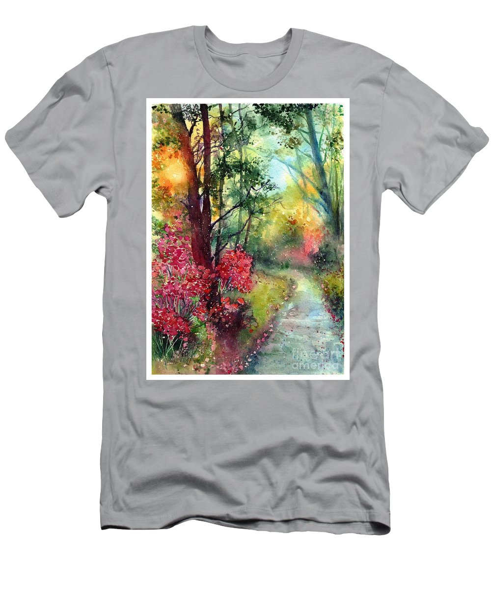 Nature Men's T-Shirt (Athletic Fit) featuring the painting Where Do We Go by Suzann Sines