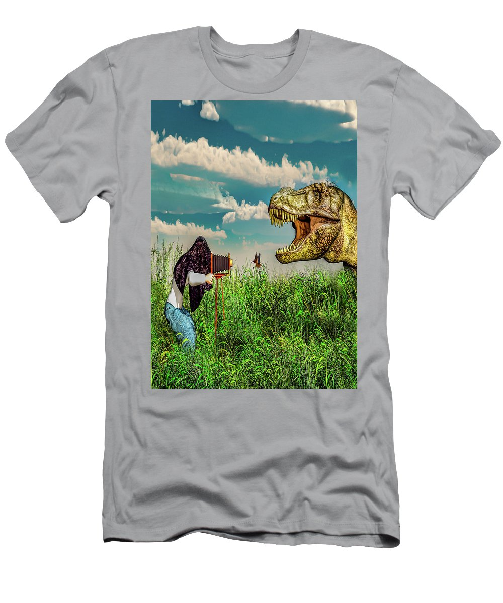 Dinosaur Men's T-Shirt (Athletic Fit) featuring the digital art Wildlife Photographer by Bob Orsillo