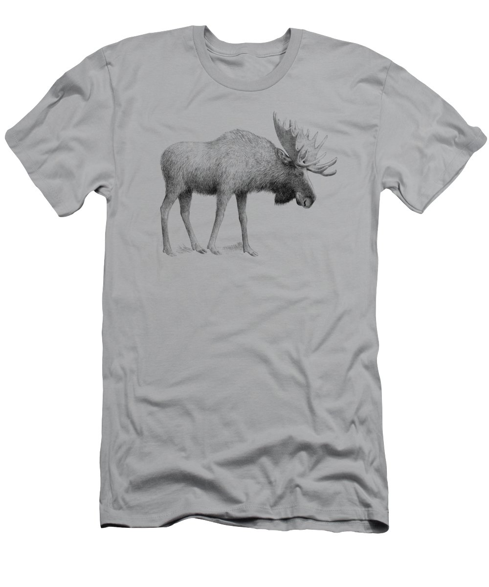 Moose Men's T-Shirt (Athletic Fit) featuring the drawing Winter Moose by Eric Fan