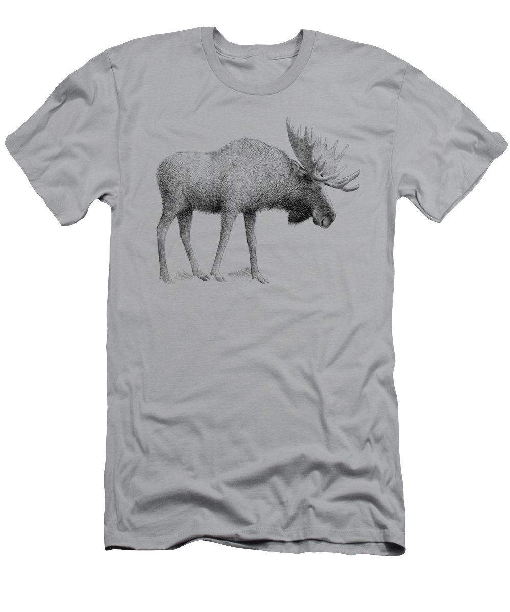 Moose T-Shirt featuring the drawing Winter Moose by Eric Fan