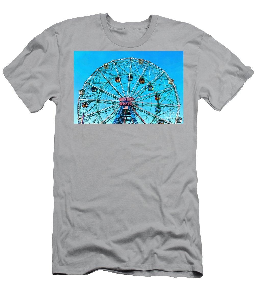Wonder Wheel Men's T-Shirt (Athletic Fit) featuring the digital art Wonder Wheel Coney Island Ny by Edward Fielding