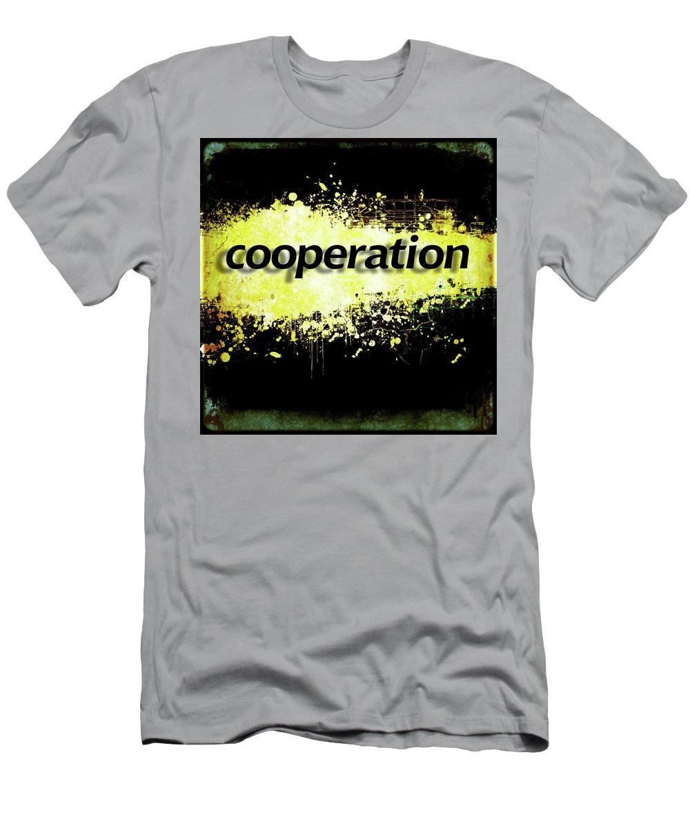 Cooperation Men's T-Shirt (Athletic Fit) featuring the digital art Word Cooperation On Black And Yellow Grunge Background. by Rudy Bagozzi