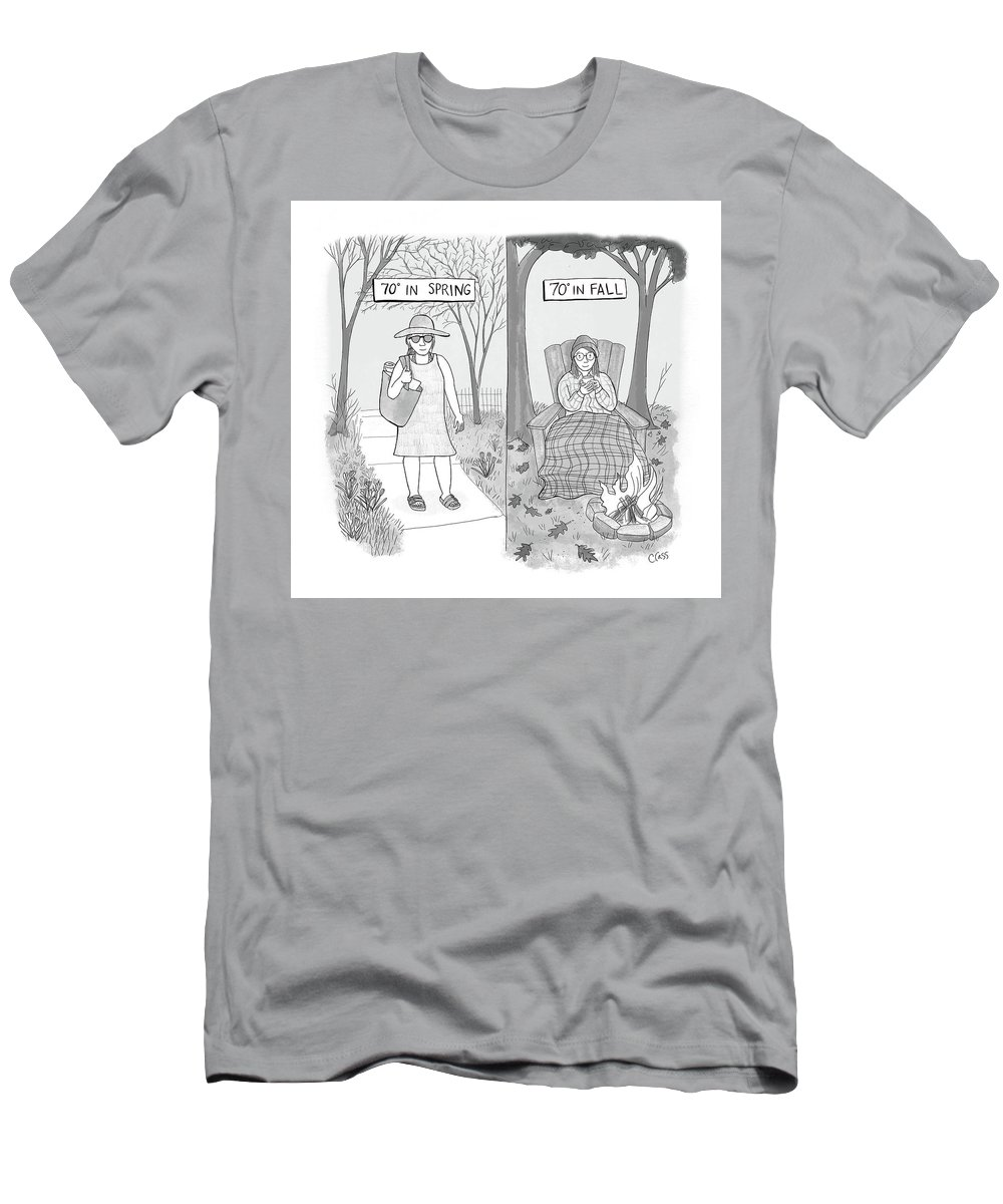 Captionless T-Shirt featuring the drawing 70 Degrees Spring Or Fall by Caitlin Cass