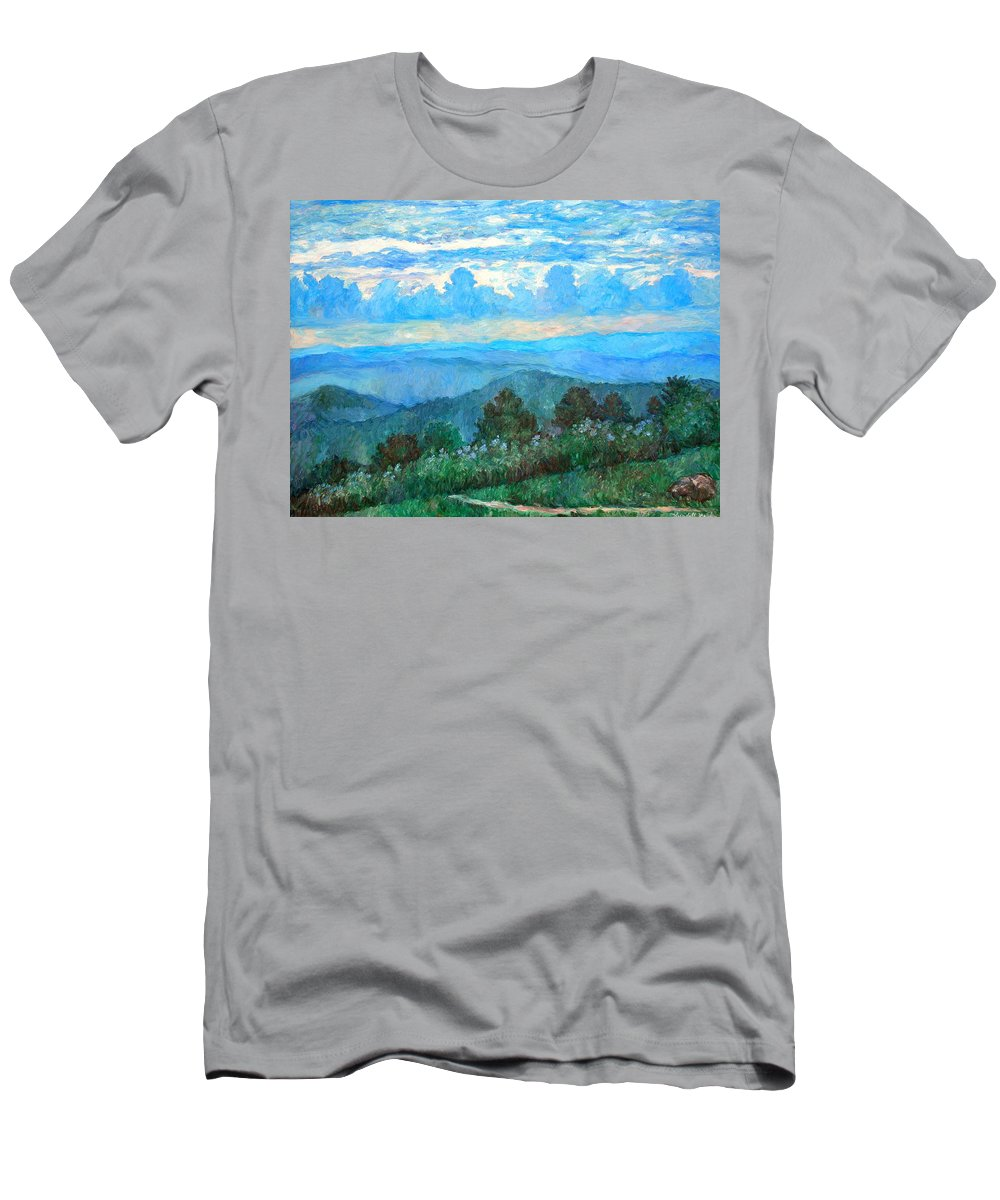 Landscape T-Shirt featuring the painting A Path to Rock Castle Gorge in the Evening by Kendall Kessler