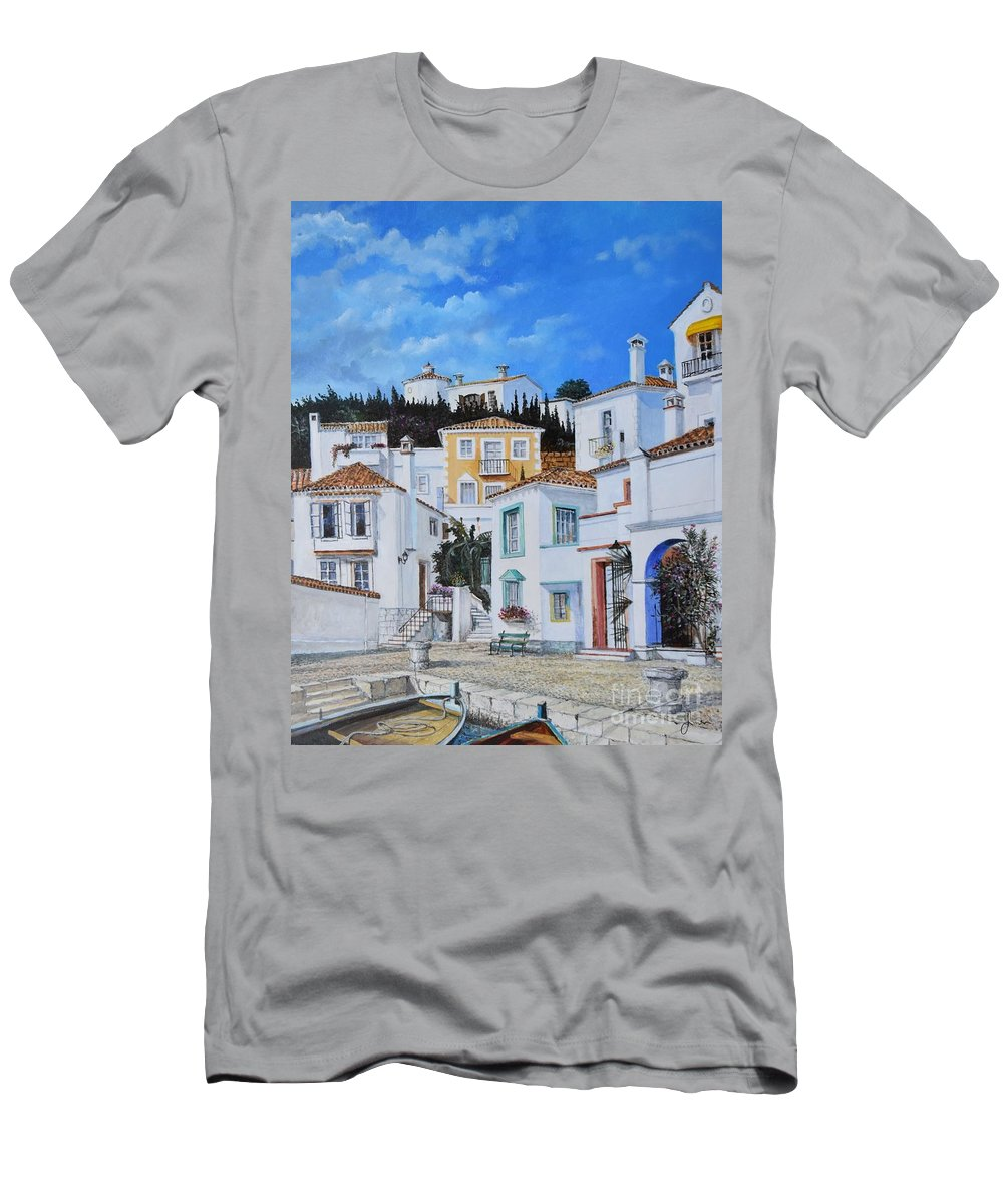 City T-Shirt featuring the painting Afternoon Light In Montenegro by Sinisa Saratlic