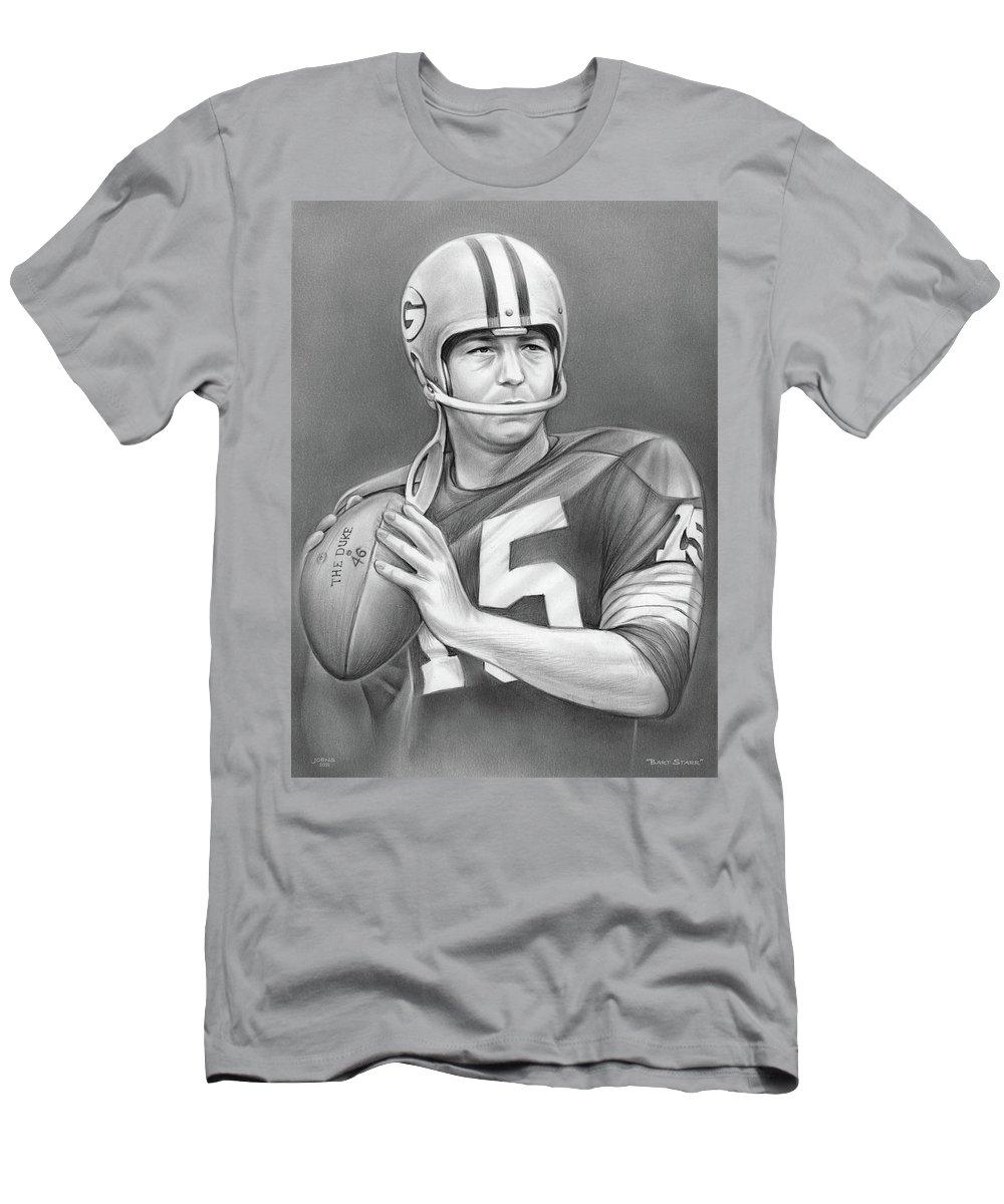 Bart Starr T-Shirt featuring the drawing Bart Starr - Pencil by Greg Joens