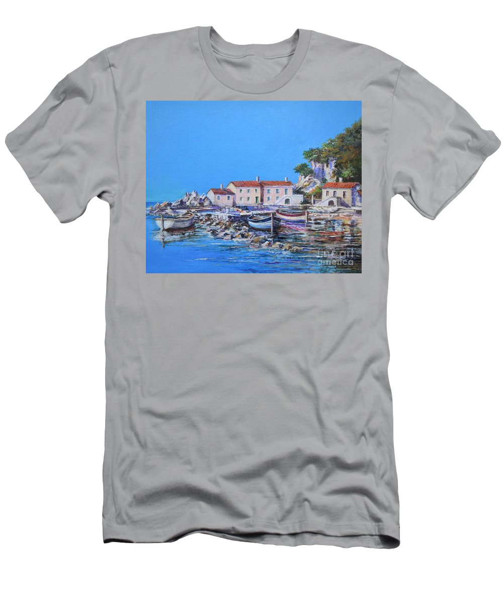 Original Painting T-Shirt featuring the painting Blue Bay by Sinisa Saratlic