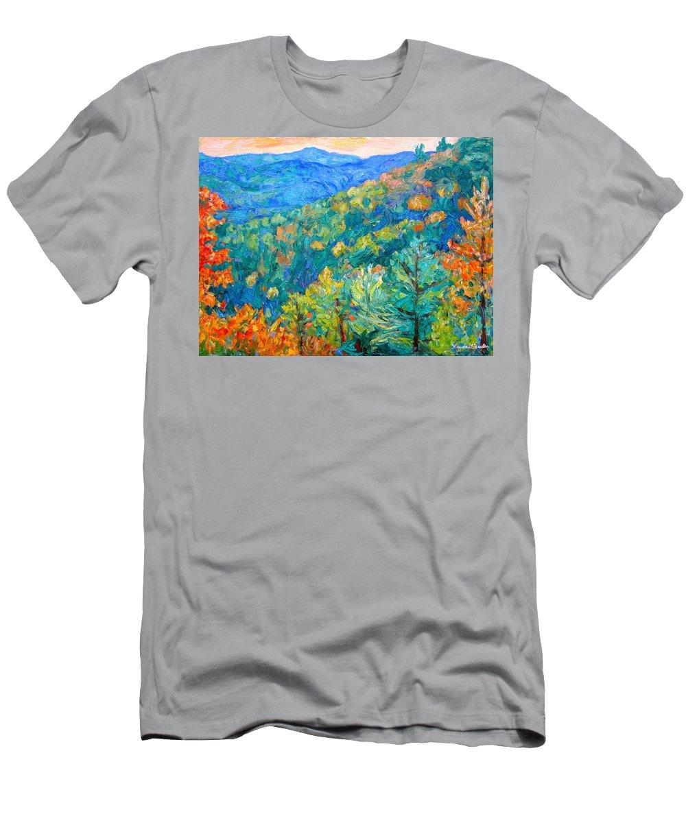 Blue Ridge Mountains T-Shirt featuring the painting Blue Ridge Autumn by Kendall Kessler