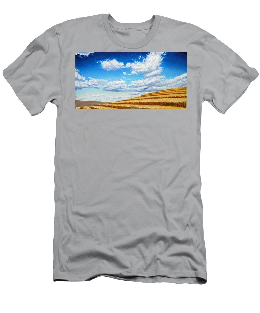 Palouse T-Shirt featuring the painting Clouds on the Palouse near Moscow Idaho by Leonard Heid