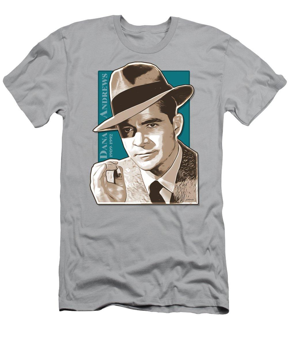 Dana Andrews T-Shirt featuring the digital art Dana Andrews Pop Art by Greg Joens