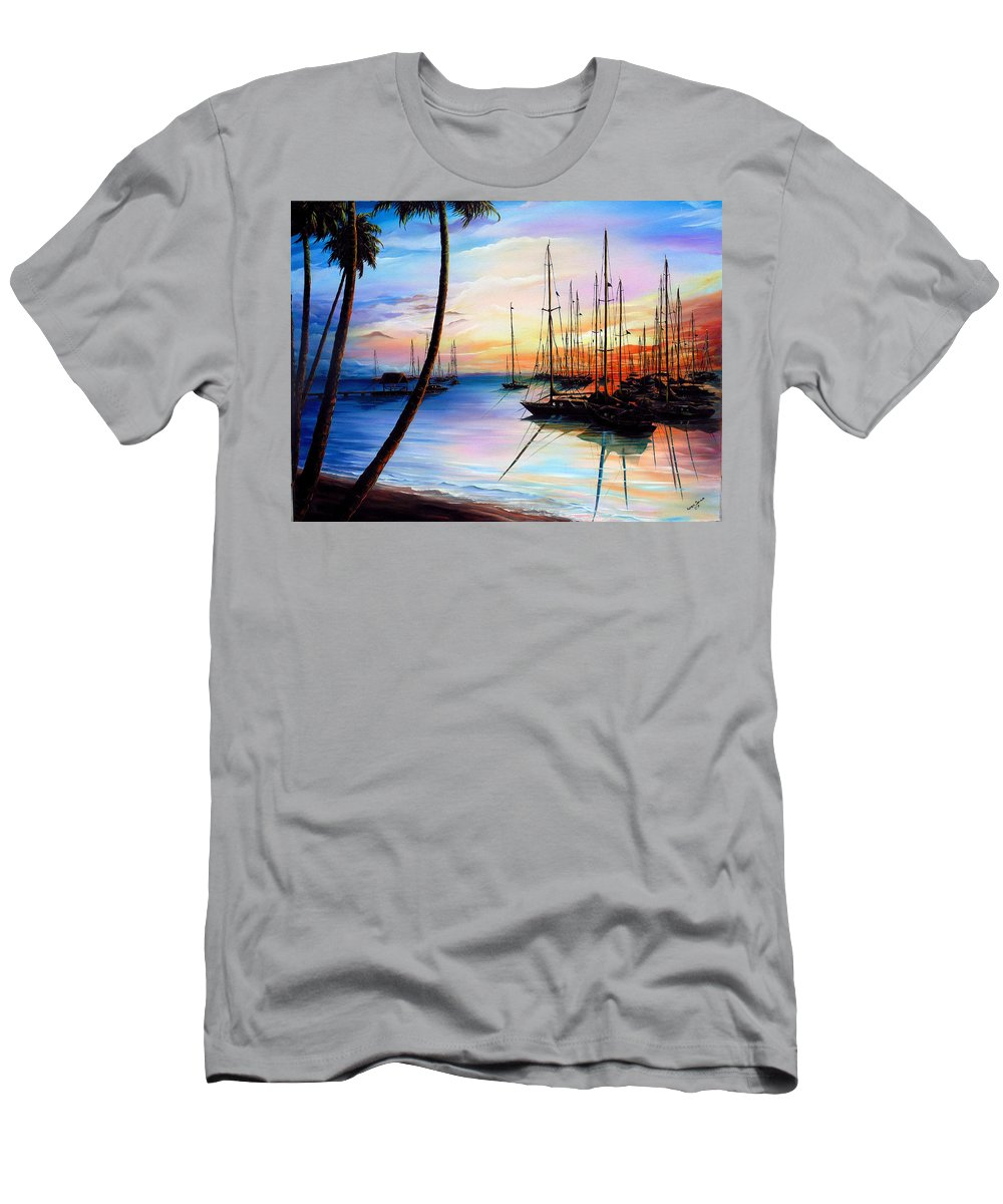 Ocean Painting Seascape Yacht Painting Sailboat Painting Sunset Painting Tropical Painting Caribbean Painting Yacht Painting At The End Of A Yachting Regatta At Pigeon Point Tobago Painting T-Shirt featuring the painting DAYS END Yachting Regatta At Pigeon Point Tobago by Karin Dawn Kelshall- Best
