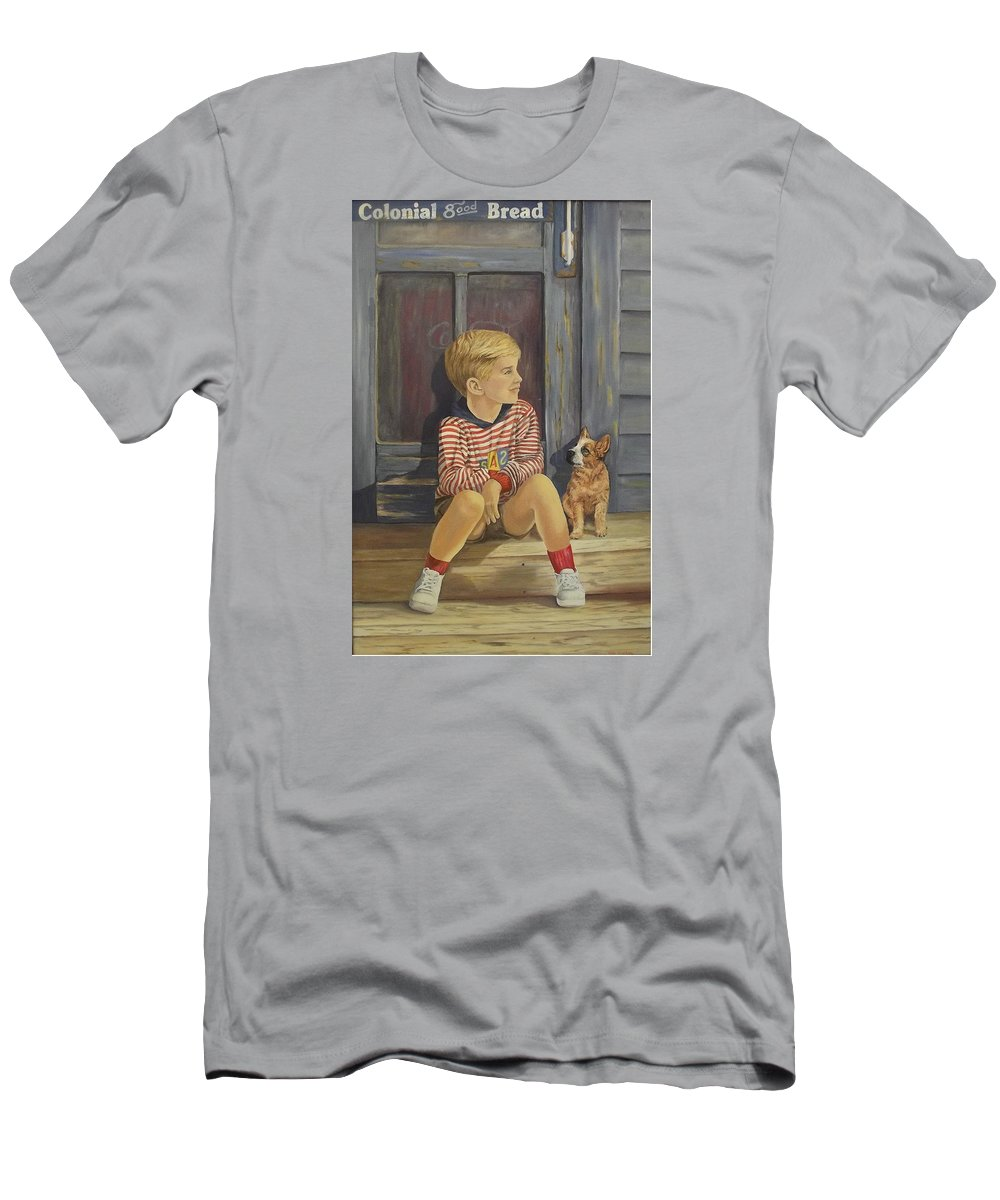 A Young Boy And His Dog T-Shirt featuring the painting Grandpas Country Store by Wanda Dansereau