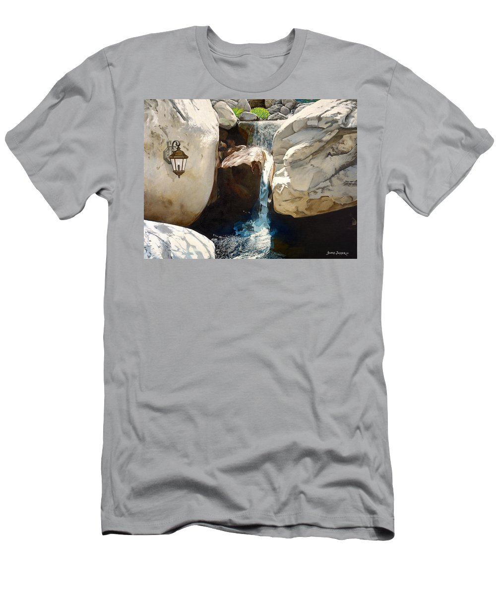 Landscape T-Shirt featuring the painting Guiding Light by Snake Jagger