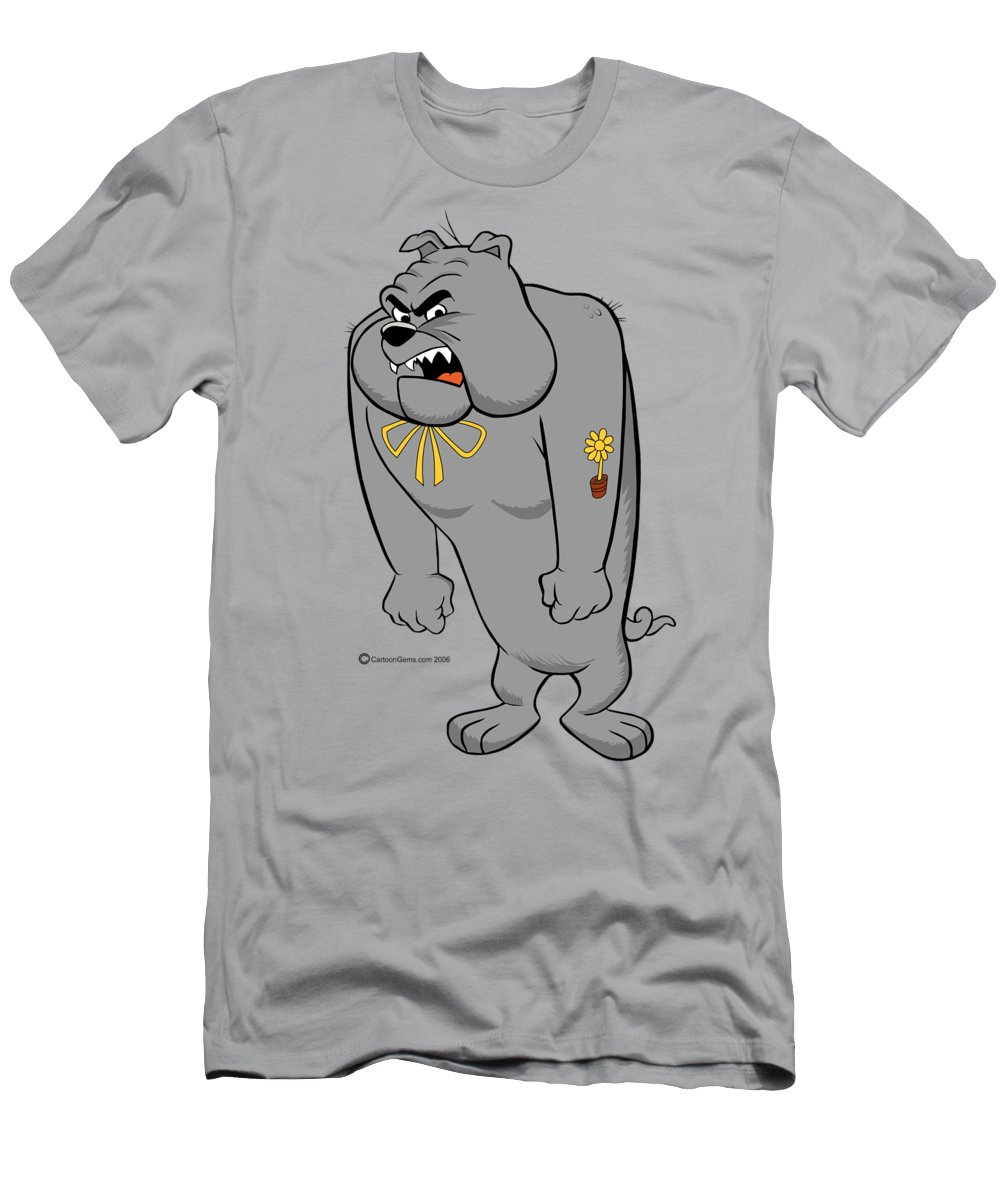 Bulldog T-Shirt featuring the drawing Measles The Angry Bulldog by Cartoon Gems