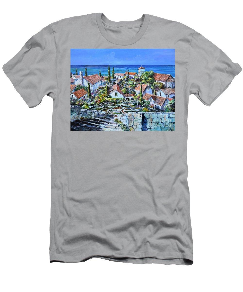 Original Painting T-Shirt featuring the painting Mediterraneo by Sinisa Saratlic