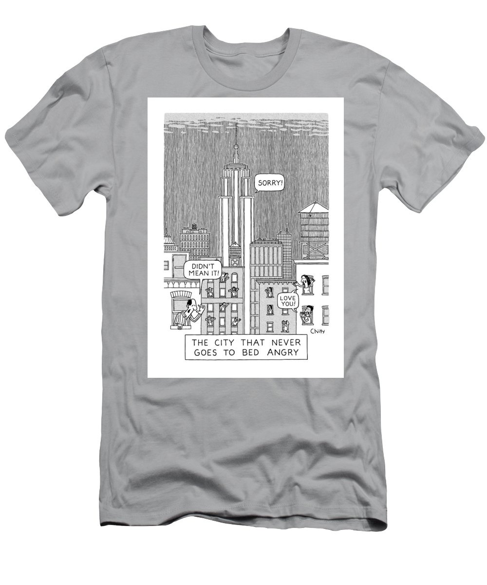Captionless T-Shirt featuring the drawing Never Goes To Bed Angry by Tom Chitty