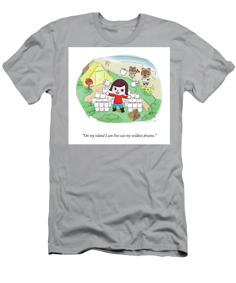 On My Island I Can Live Out My Wildest Dreams. T-Shirt featuring the drawing On My Island by Brooke Bourgeois