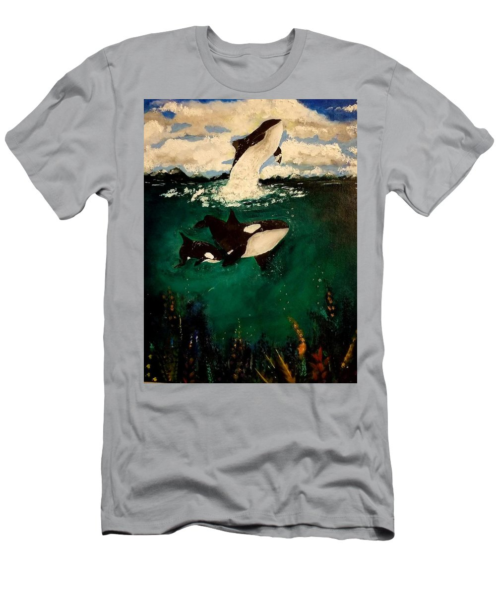 Orcas T-Shirt featuring the painting Orca by Valerie Josi