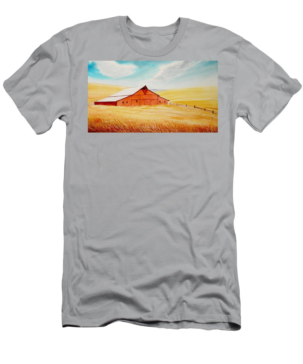 Wheat T-Shirt featuring the painting Palouse Air by Leonard Heid