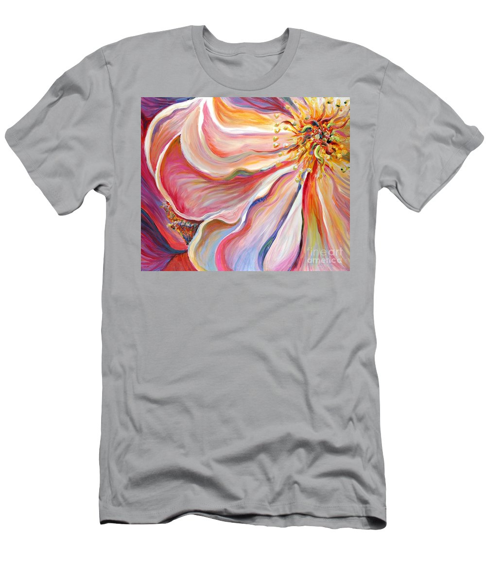 Pink Poppy T-Shirt featuring the painting Pink Poppy by Nadine Rippelmeyer
